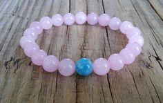 Rose quartz bracelet with aquamarine stone bead  rose quartz