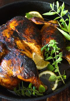 Smoky Paprika Lemon Herb Chicken Under a Brick Recipe -- Packed with fresh, smoky and tangy flavor, this is the most succulent, delicious chicken of all time! Chicken Under A Brick, Lemon Herb Chicken, Lemon Recipes, Top Recipes, Paleo Recipes, Spatchcock Chicken, Asparagus Recipe, Yum Yum Chicken, Chicken