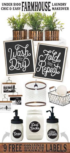 Laundry decor - chic easy farmhouse laundry makeover for less than 100 lettered lined style decor hanger hangers diy clothespins clothespin mason jars jar dispenser labels soap lost socks chicken wire pendant bask Farmhouse Style Decorating, Farmhouse Chic, Country Farmhouse, Farmhouse Plans, Budget Decorating, Farmhouse Windows, Country Chic, Decorating Kitchen, Kitchen Decor