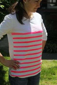 Another DIY: neon striped shirt