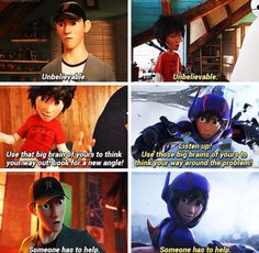 Here in these scenes, Hiro is using the same words while he's a superhero, that tadashi said to him. Hiro thought those were things a good superhero would say to others. Which means that Hiro saw Tadashi as a true hero. Disney Facts, Disney Memes, Disney Quotes, Disney Love, Disney Magic, Disney Stuff, Hiro Big Hero 6, The Big Hero, Big Hero 6 Tadashi