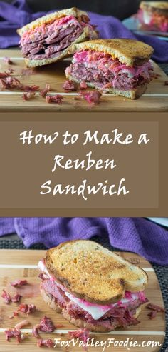 How to Make a Reuben Sandwich - recipe- Like a Restaurant via Learn how to make a Reuben Sandwich as good as your favorite restaurant's. This classic sandwich can easily be perfected in your own kitchen! Corned Beef Sandwich, Reuben Sandwich, Monte Cristo Sandwich, Corned Beef Recipes, Soup And Sandwich, Reuban Sandwich Recipe, Cornbeef Sandwich Recipes, Sandwich Board, Sandwich Ideas