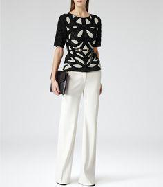 Womens Black/cream Embellished Semi Sheer Top - Reiss Basset