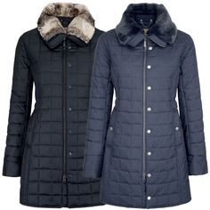 Dubarry Ladies Erin Jacket Black or Navy - A super coat for the Winter months, a longline style in a sleek and slim fit with removable faux fur collar & sturdy YKK Zippers. Buy from MillbryHill.co.uk today!