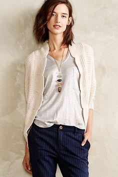 Scalloped Cocoon Cardigan #anthropologie. I love this entire look.