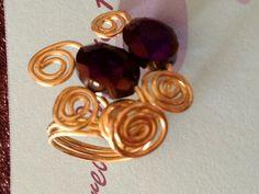Purple crystals ring