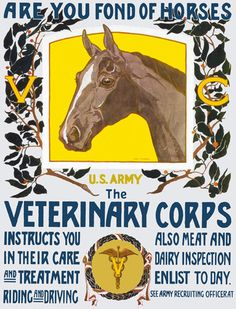 """""""Are you fond of horses. U.S. Army. The Veterinary Corps instructs you in their care and treatment, riding and driving. Also meat and dairy inspection. Enlist today. See Army recruiting officer."""" ~ WWI recruitment poster for the US Army Veterinary Corps. Illustrated by Horst Schreck, 1919."""