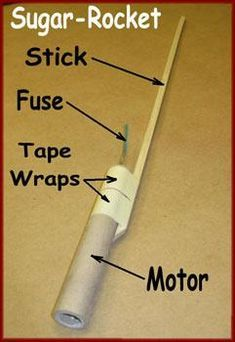 Sugar rocket with stick and fuse attached Homemade Fireworks, How To Make Fireworks, Science Projects, Science Experiments, Fun Projects, Chemistry Projects, Study Chemistry, Science Inquiry, Science Activities