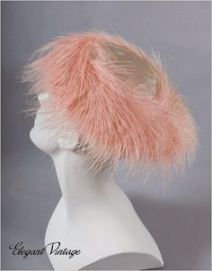 1950's pink velvet and feather hat