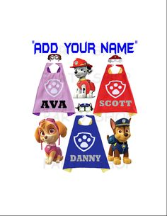 PAW PATROL Personalized custom cape and mask for kids,Skye,Chase and Marshall,ADD your child's name capes,double layer cartoon cosplay. Monsters Inc Shirt, Custom Capes, Paw Patrol Toys, Felt Mask, Superhero Capes, Super Party, Super Hero Costumes, Party Shop, Kid Names