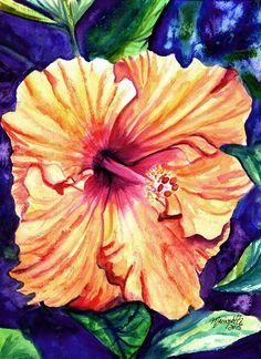 Tropical Hibiscus 10 Original Watercolor Painting by kauaiartist