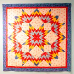 """Bed Quilt - 17. Sparks made by Marjorie Norman. """"True 4th of July Quilt."""""""