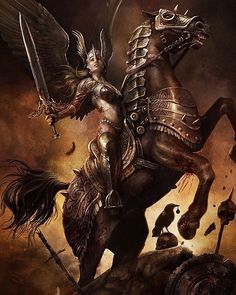 Female spirits in Norse mythology, the Valkyries were servants of the god Odin. Originally, the Valkyries were fierce creatures who took… Norse Pagan, Norse Mythology, Valkyrie Tattoo, Asgard, Gothic Fantasy Art, Angel Warrior, Vegvisir, Norse Vikings, Fantasy Paintings