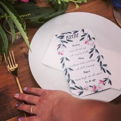 FLORALS// I matched the stationery to the theme, finishing the menu's in bright . Model One, Floral Theme, Wedding Stationary, Wedding Events, Stationery, Menu, Bride, Florals, Gardens