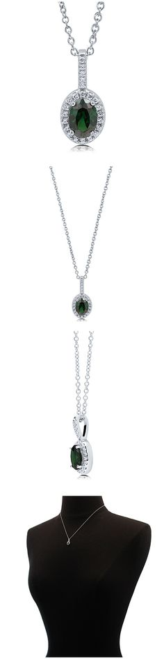 Sterling Silver Oval CZ Halo Fashion Necklace