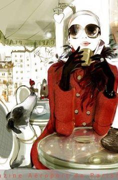 Parisian cafe life  - sophie griotto