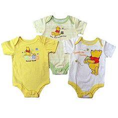 Disney Baby Newborn Bodysuits 3pk Winnie the Pooh Short Sleeve Snap Closure Multicolored - Baby - Baby & Toddler Clothing - Bodysuits