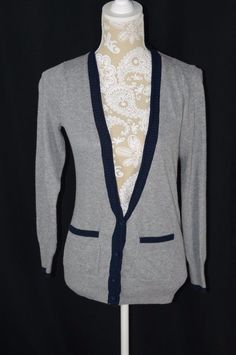 Between Me & You Womens Small Navy Blue V-Neck Cardigan Sweater ...