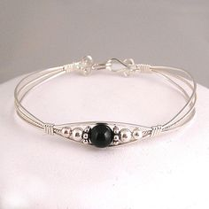 Black Dot  Sterling silver and onyx wire by dreamstardesigns, $35.00