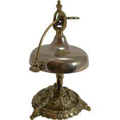 Unusual Antqiue French Brass Desk or Counter Bell - Cherub Column c.1880