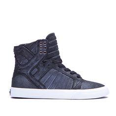 These kicks are so cool.  SUPRA WOMENS SKYTOP   BLACK / METALLIC - WHITE   Official SUPRA Footwear Site