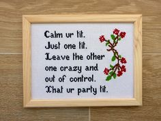 Calm Your Tit Quote. Calm Your Tit Quote. Out of Control Tit Poem. Funny Present. Cross Stitching, Cross Stitch Embroidery, Diy Embroidery, Naughty Cross Stitch, Cute Cross Stitch, Subversive Cross Stitches, Funny Cross Stitch Patterns, Diy Kit, Cross Stitch House