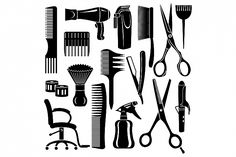 Hairdresser Making Haircut To Hipster Man. Icon Set, Hairdresser Tattoos, Clock Tattoo Design, Beauty Salon Decor, Simple Illustration, Salon Design, Pattern And Decoration, Custom Tumblers, Barber Shop