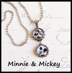 Vintage Typewriter Key Necklace Mickey and Minnie Mouse