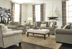 Baveria Gray Cushion Back Living Room Set