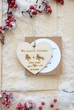 """""""We nearly became """"married"""" this year"""" ornament to add to your Christmas Tree, personalized with the engraved wedding date!It's engraved and cut in a laser-cut machine, and the processing time is 48/72h to ship. #christmastree #christmastreeornament #posponedwedding #weddingpospotned #christmastreedecor"""
