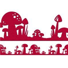 Mushroom border from the Silhouette Online Store! Fairy Silhouette, Silhouette Clip Art, Silhouette Portrait, Silhouette Cameo Projects, Silhouette Design, Silhouette Curio, Silhouette Files, Kirigami, Arabesque
