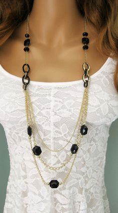 Oro e nero lunga collana di perline lungo nero Multi Strand