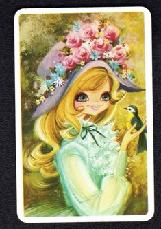 Swap cards at Swap Card Collectors Warehouse collectable vintage & modern playing & blank back cards for sale to Australia & worldwide. Mary May, Thing 1, Sarah Kay, Eye Art, Vintage Greeting Cards, Cute Illustration, Big Eyes, Pansies, Vintage Images