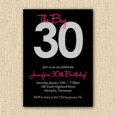 Order your personalized invitation at Boardman Printing. 30th Party, 30th Birthday Parties, 30 Birthday, Birthday Ideas, 40th Birthday Invitations, Rosa Pink, Turning 30, Happy 30th, Personalized Invitations