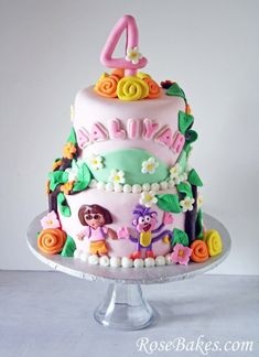 Dora the Explorer Birthday Cake with Swiper.  Click over for more pics and details!