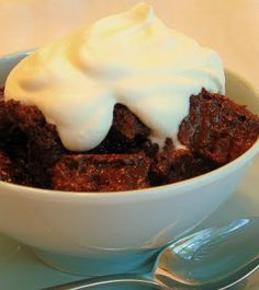 Dark Chocolate Bread Pudding with Whipped Cream