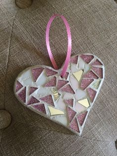 Stained Glass Mosaic Heart Ornament Pink Glitter by BlueOceanGlass
