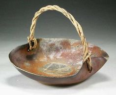 woodfired bizen style stoneware basket  21cm., Kanayama Pottery  Aomori, Japan