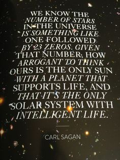 Carl Sagan quote about other life in the universe Carl Sagan, Profound Quotes, Me Quotes, Space Quotes, Wisdom Quotes, Inspiring Quotes, Cosmos, Human Nature Quotes, Sistema Solar