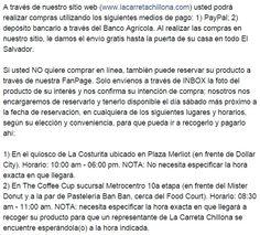 Imagen con el texto que publicamos en nuestra FanPage: www.facebook.com/LaCarretaChillona. Detalla los medios de pago que ofrecemos ;)