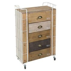 Number Chest of 5 Drawers 5, Natural