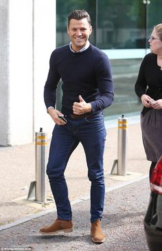 Looking good: Mark Wright  was spotted with a spring in his step as he arrived at the ITV ...