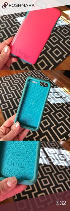 iPhone 6 s otter box case Gently used iPhone 6s otterbox pink back and teal front. Does have one small minor stain on bottom right corner but not very noticeable when on phone. OtterBox Accessories Phone Cases