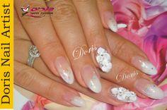 white glitter nail art 3d