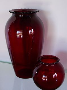 2 Vintage Depression Glass Anchor Hocking Royal Ruby Red Vases Hoover | eBay