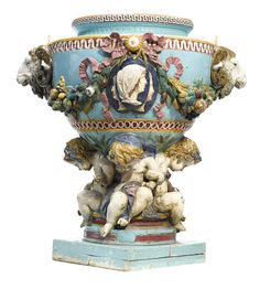An imposing English majolica jardinière probably Minton fourth quarter 19th century