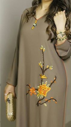 Caftan Morrocco Jellaba Caftan D& - Embroidery Suits Design, Embroidery Fashion, Embroidery Dress, Kurta Designs, Blouse Designs, Abaya Fashion, Fashion Dresses, Mode Abaya, Kurta Neck Design