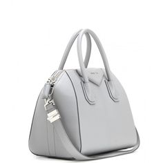 Givenchy Antigona Small Leather Tote ($2,100) ❤ liked on Polyvore featuring bags, handbags, tote bags, leather purse, genuine leather tote, gray tote, grey leather handbags and gray leather handbag