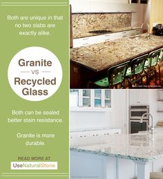 Evaluate the pros and cons of various countertop surfaces available on the market today including the advantages and disadvantages of each. Recycled Glass Countertops, Stainless Steel Countertops, Countertop Materials, Concrete Countertops, Natural Stones, Recycling, Patio, Backsplash Ideas, Conception