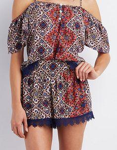 Crochet-Trim Printed Shorts